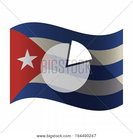 Isolated Cuba Flag With A Pie Chart