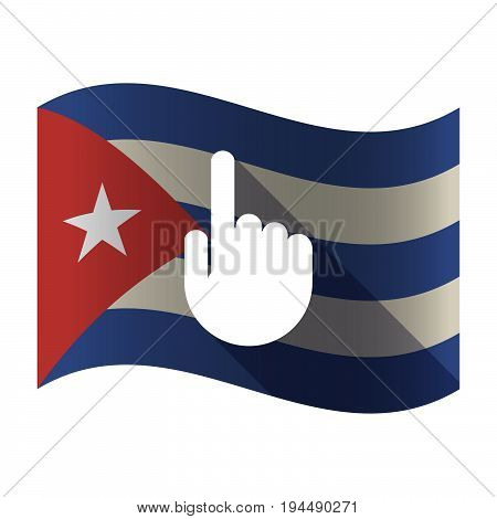Isolated Cuba Flag With A Pointing Hand