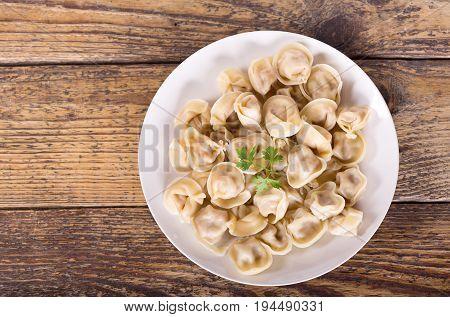 Plate Of Russian Pelmeni, Ravioli Or Dumplings