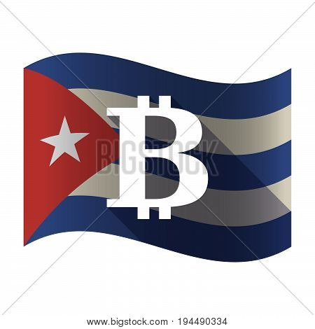 Isolated Cuba Flag With A Bit Coin Sign