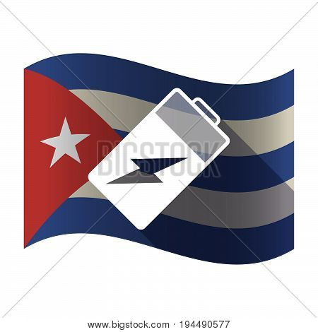 Isolated Cuba Flag With A Battery