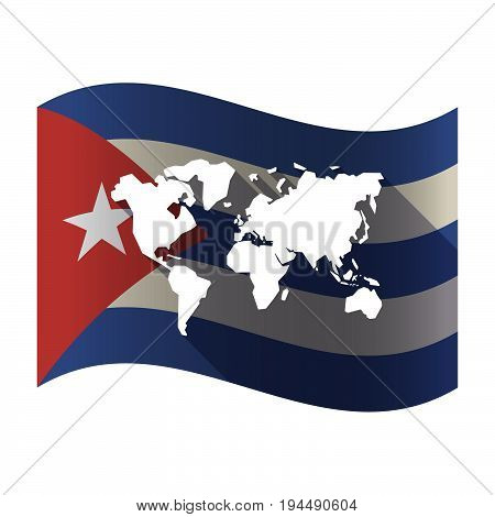 Isolated Cuba Flag With A World Map