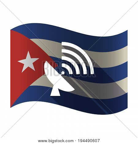 Isolated Cuba Flag With A Satellite Dish