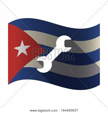 Isolated Cuba Flag With A Wrench