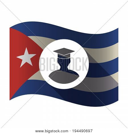 Isolated Cuba Flag With A Student