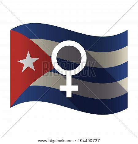 Isolated Cuba Flag With A Female Sign