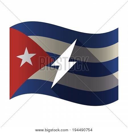 Isolated Cuba Flag With A Lightning