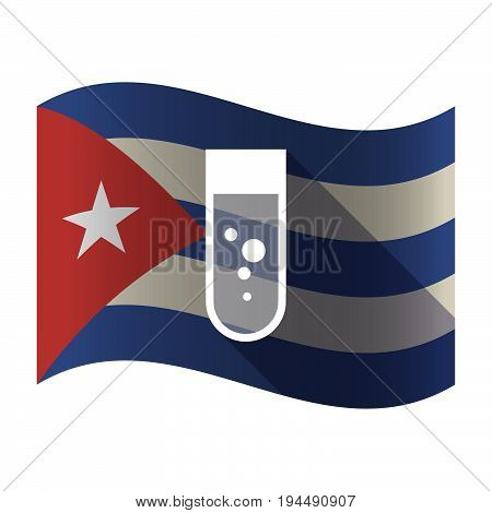 Isolated Cuba Flag With A Chemical Test Tube