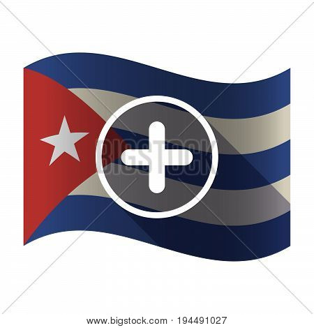 Isolated Cuba Flag With A Sum Sign
