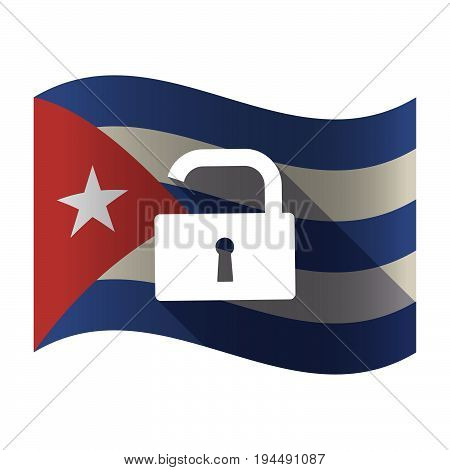 Isolated Cuba Flag With An Open Lock Pad