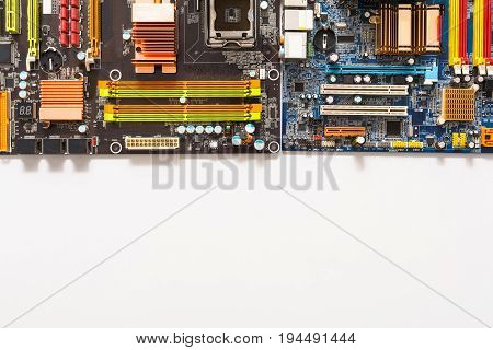 Set of computer inner parts. Microcircuits of motherboard, closeup. Electronic parts of computer background with copy space, top view