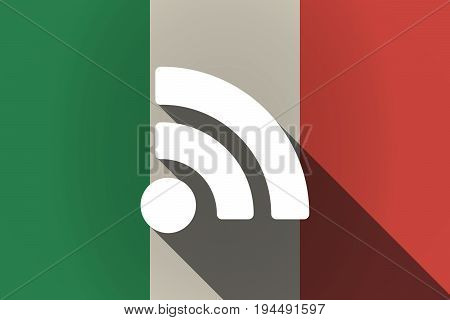 Long Shadow  Italy Flag With An Rss Sign