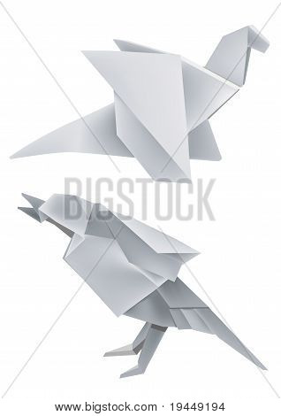Illustration of folded paper models dragon and bird. poster
