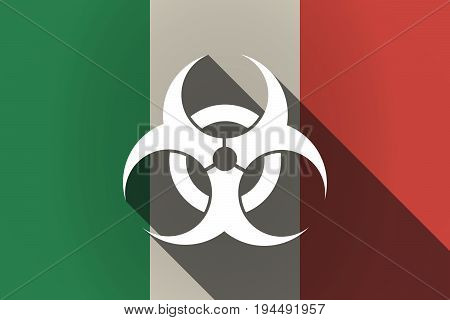 Long Shadow  Italy Flag With A Biohazard Sign