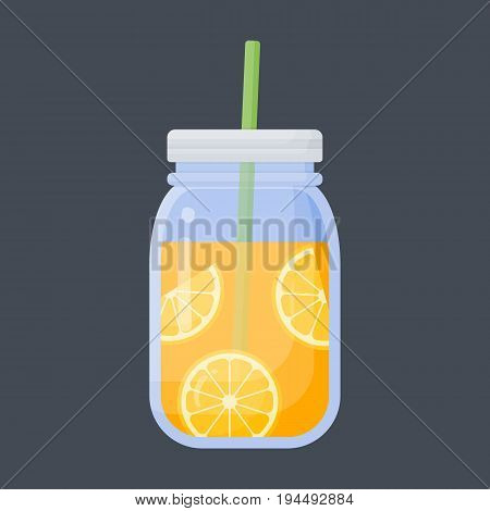Orange juice vector flat icon Flat design of food health care or summer object with round shadow cute illustration