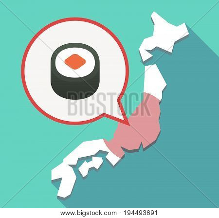 Long Shadow Japan Map With A Piece Of Sushi Maki