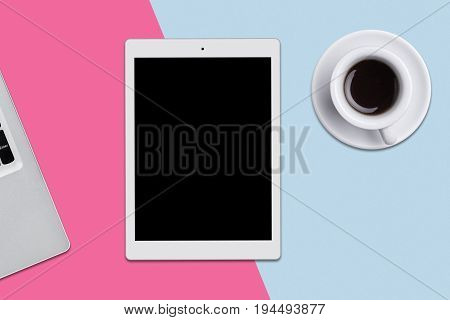 Digital Tablet With Blank Screen, Laptop And Cup Of Coffe On Flat Surface. Top View Of Modern Techno