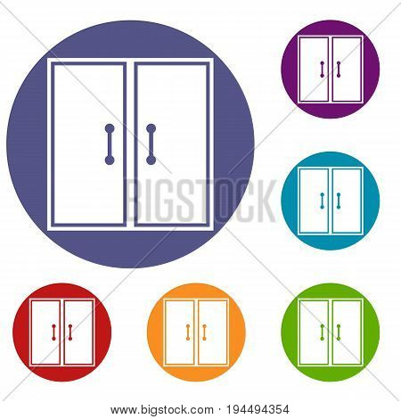 Two glass doors icons set in flat circle reb, blue and green color for web