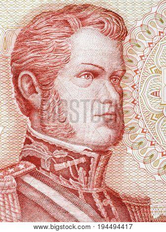 Bernardo O'Higgins portrait from Chilean money - Escudos