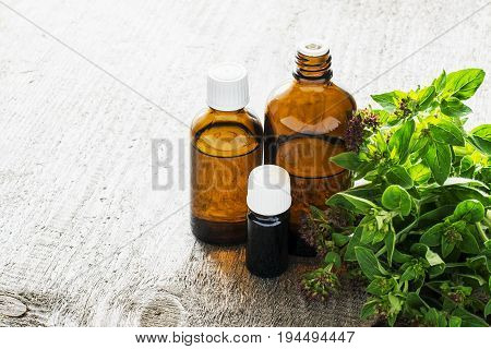 Essential oregano oil for aromatherapy in a dark glass containers on wooden background with fresh oregano. Selective focus