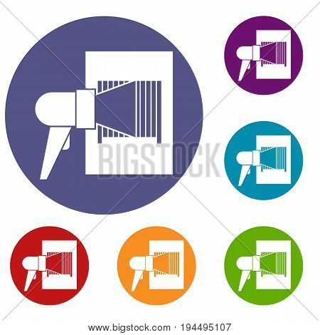 Bar code on cargo icons set in flat circle reb, blue and green color for web