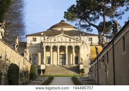 VICENZA,ITALY-APRIL 3,2015:Villa Almerico Capra also known as La Rotonda during a sunny day.The architect in charge of the project was Andrea Palladio