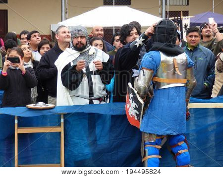 TUCUMÁN, ARGENTINA - JULY 8, 2017 - Medieval Fest for kids. People disguissed with medieval clothes. Fights
