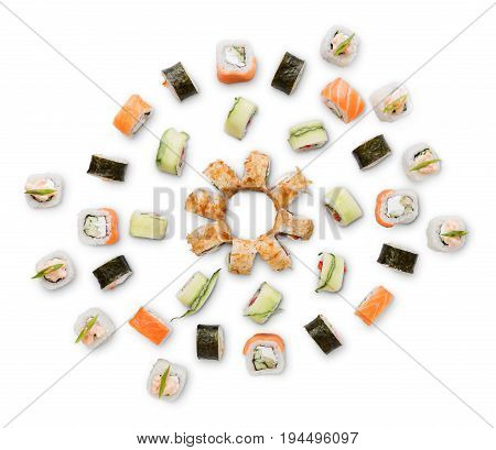 Sushi, rolls, maki, unagi and california big party platter set isolated on white background, top view. Japanese food restaurant delivery
