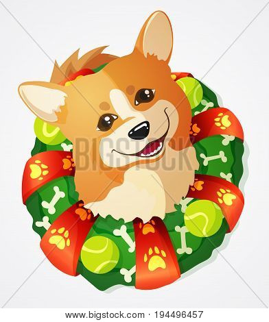Cute Welsh Corgi dog and Christmas Wreath with tennis ball toys and bones hand drawn vector illustration