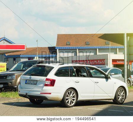 STUTTGART GERMANY - MAY 29 2017: Skoda Octavia Wagon car driving toward car wash