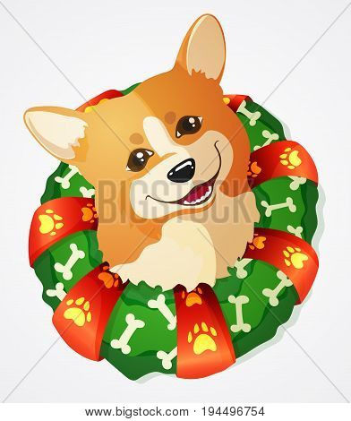 Cute Welsh Corgi dog and Christmas Wreath with ribbon and bones hand drawn vector illustration