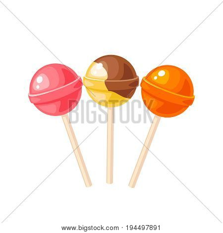 Sweet colorful round lollipop. Vector illustration candy  flat icon isolated on white.