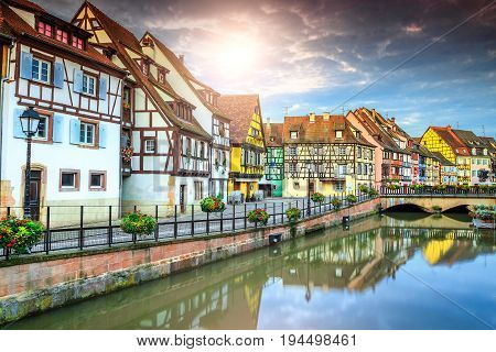 Spectacular colorful traditional french houses on the side of river Lauch in Petite Venise Colmar France Europe