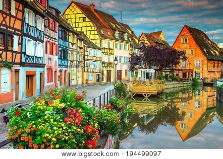 Amazing colorful traditional french houses on the side of river Lauch in Petite Venise Colmar France Europe