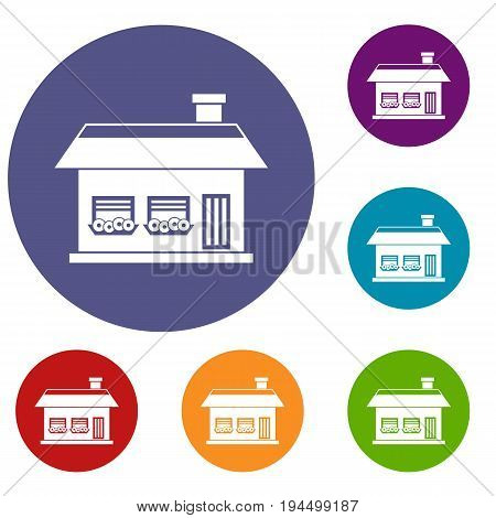 One storey house with two windows icons set in flat circle reb, blue and green color for web