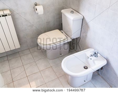 Interior Of Simple White Toilet Room