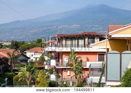 Houses On Street In Giardini Naxos And Etna Mount