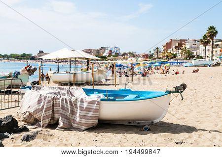 Boats On Urban Beach In Giardini Naxos Town