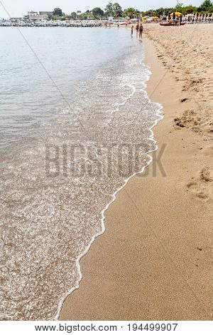Sand Beach In Giardini Naxos Town In Summer