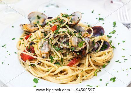 Spaghetti Alle Vongole In Sicilian Restaurant