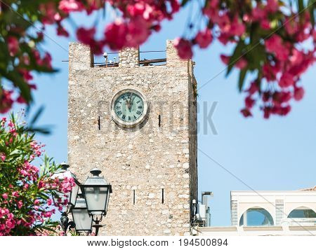 View Of Medieval Clock Tower In Taormina City