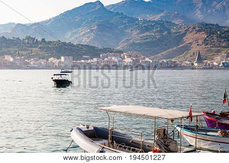 View Of Giardini Naxos Town From Port