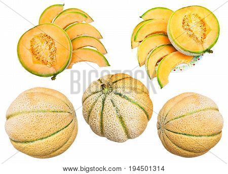 collection of whole and sliced ripe sicilian muskmelons (cantaloupe melons) isolated on white background