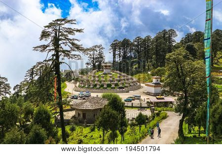 Thimphu Bhutan - September 10 2016: Druk Wangyal Khangzang Stupa with 108 chortens Dochula Pass Bhutan. Dochula pass is located on the way to Punakha from Thimphu.