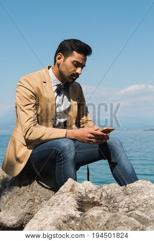Handsome Man Posing In A Vacation Context