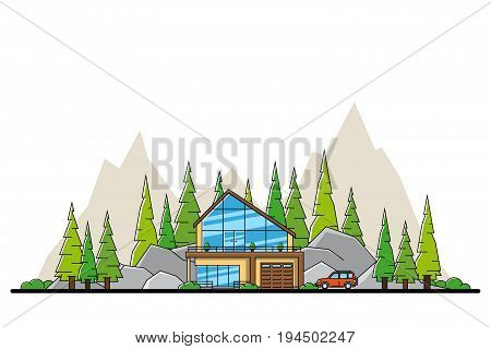 picture of modern private residential house with car, hills and trees on background, real estate and construction industry concept flat line art style illustration