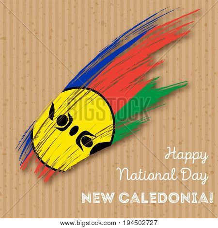 New Caledonia Independence Day Patriotic Design. Expressive Brush Stroke In National Flag Colors On