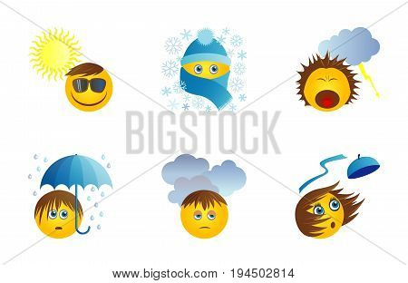 Six funny original icons with emoticons for weather report. Suny day snow storm rain cloads wind. Vector set