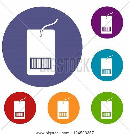 Tag with bar code icons set in flat circle reb, blue and green color for web