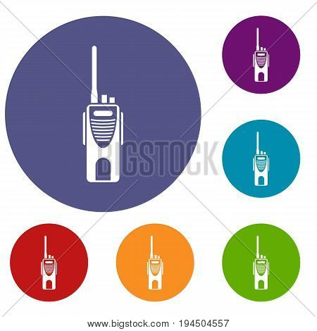 Radio transmitter icons set in flat circle reb, blue and green color for web